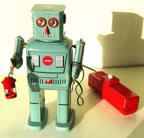 1950s lantern tin robot toy